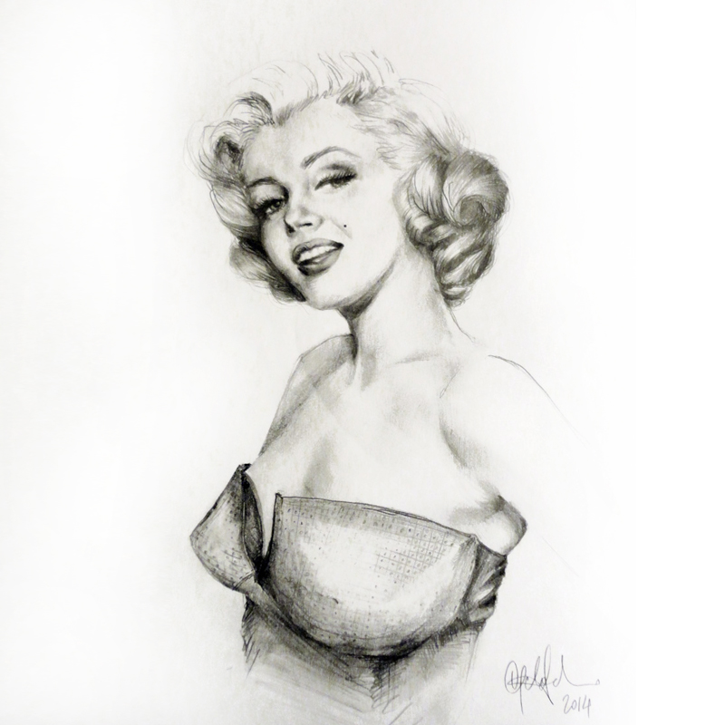 Marilyn in gray charcoal